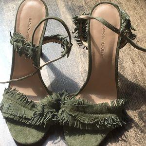 Fringed Olive Green Banana Republic Heels